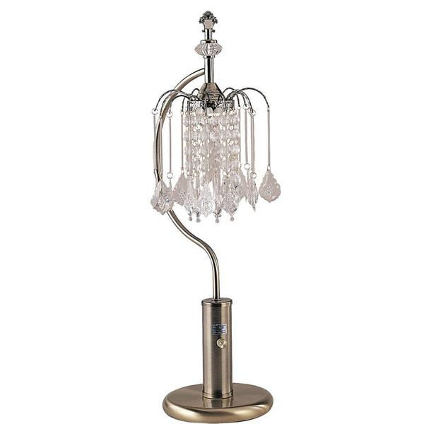 Antique Brass Table Lamp with Crystal-inspired Shade