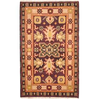 Herat Oriental Indo Hand-knotted Tribal Kazak Brown/ Gold Wool Rug (3'2 x 5')