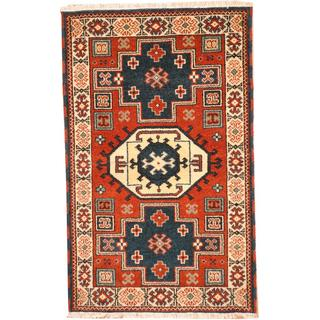 Herat Oriental Indo Hand-knotted Tribal Kazak Red/ Navy Wool Rug (3' x 5')