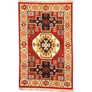 Herat Oriental Indo Hand-knotted Tribal Kazak Burgundy/ Black Wool Rug (3' x 5')