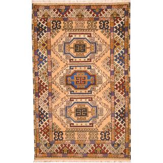 Herat Oriental Indo Hand-knotted Tribal Kazak Peach/ Navy Wool Rug (3'2 x 5')