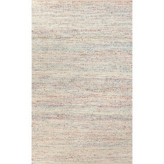 Flat-weave solid Pattern Ivory/ Blue Area Rug (5' x 8')