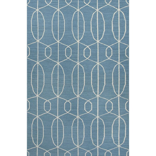 Flat-Weave Geometric Pattern Blue/Ivory (5x8) - MR100 Area Rug