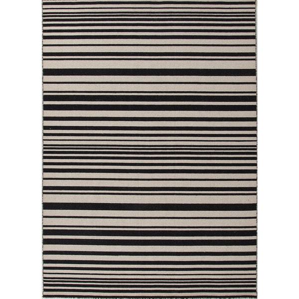 Flat-Weave Stripe Pattern Ivory/Black (5x8) - PV03 Area Rug