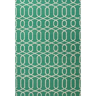 Flat-weave Geometric Pattern Green/ Ivory Area Rug (9' x 12')
