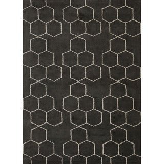 Hand-Tufted Geometric Pattern Grey/Ivory (9x12) - BL120 Area Rug