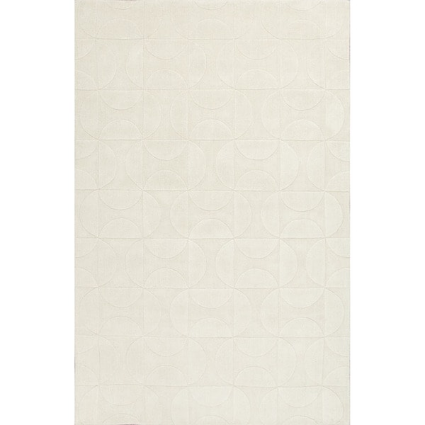 Handloom Geometric Pattern Ivory/White (3.6X5.6) - MT20 Area Rug