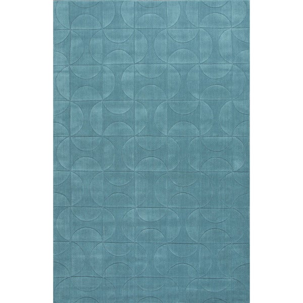 Solids/ Handloom Geometric Pattern Blue (8X11) - MT21 Area Rug