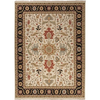 Hand-Knotted Oriental Pattern Ivory/ Black Area Rug (8' x 10')