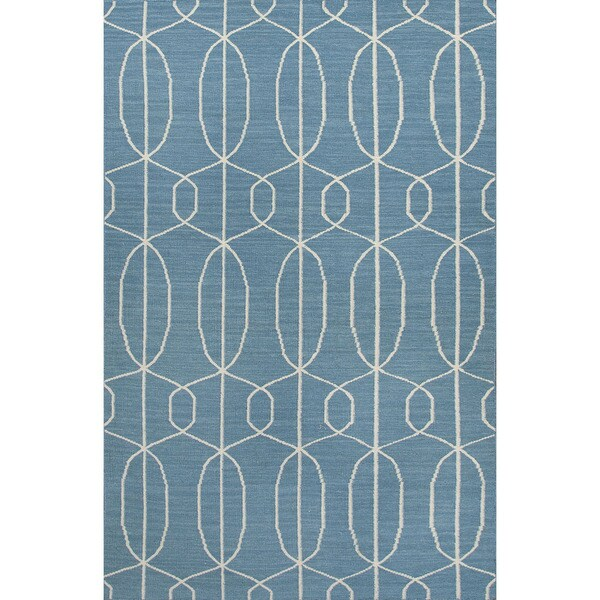 Flat-Weave Geometric Pattern Blue/Ivory (8x10) - MR100 Area Rug