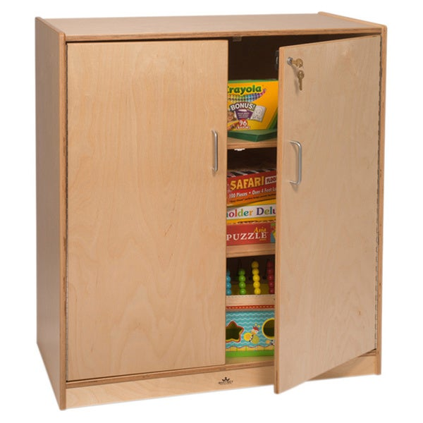 3-shelf Birch Lockable Supply Cabinet