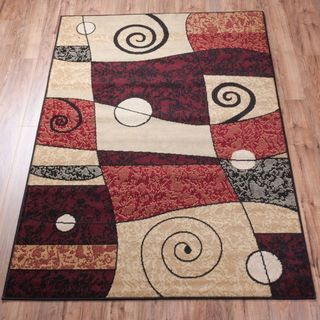 Well-woven Malibu Abstract Multi/ Red Polypropylene Rug (5' x 7')