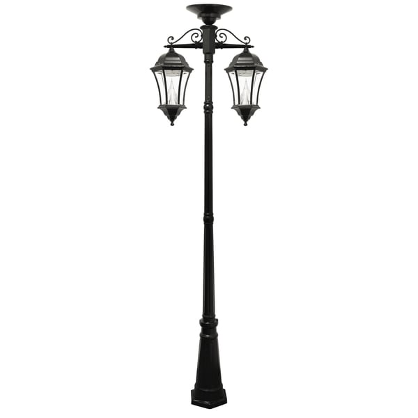 victorian solar two lamp outdoor lamp post 16957107. Black Bedroom Furniture Sets. Home Design Ideas