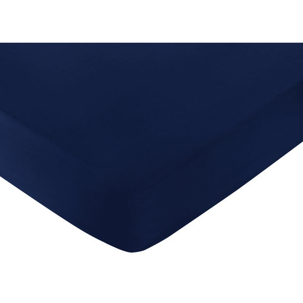 Sweet Jojo Designs Navy Blue Fitted Crib Sheet