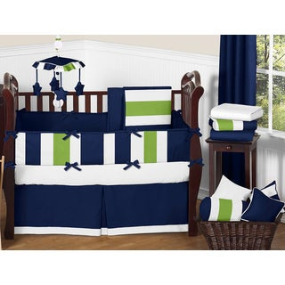 Sweet Jojo Designs Navy Blue/ Lime Green/ White Stripe 9-piece Crib Bedding Set