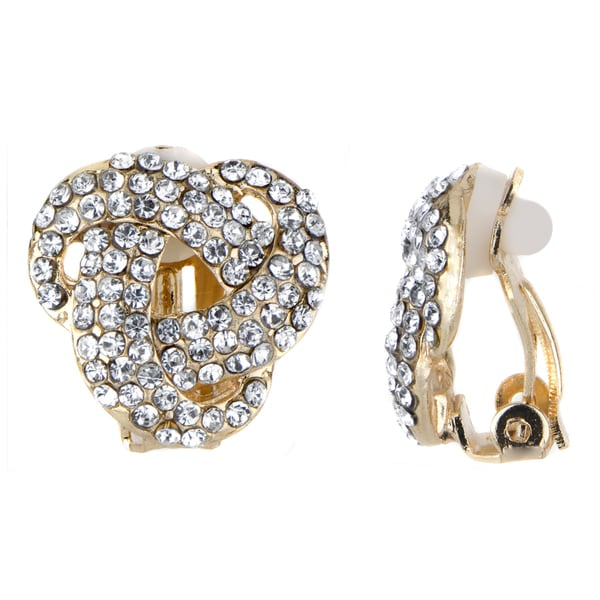 Goldtone Knot Rhinestone Embellished Clip-in Earrings