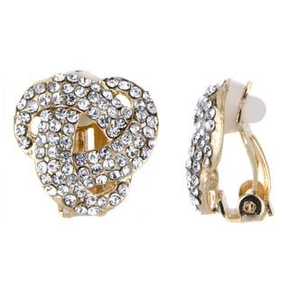 Goldtone Knot Rhinestone Embellished Clip-in Earrings