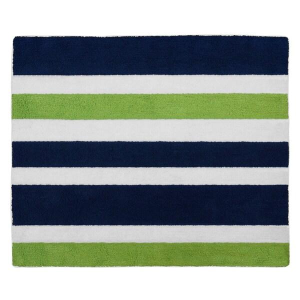 Sweet Jojo Designs Navy Blue/ Lime Green/ White Stripe Accent Floor Rug