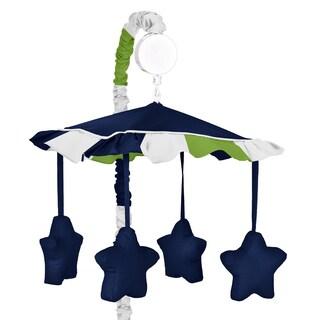 Sweet Jojo Designs Navy Blue/ Lime Green Stripe Musical Crib Mobile