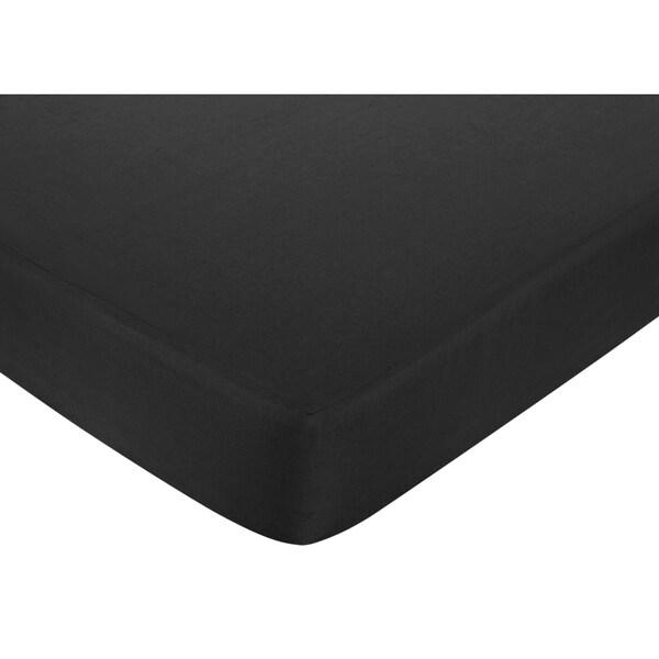 Sweet Jojo Designs Black Brushed Microfiber Fitted Crib Sheet