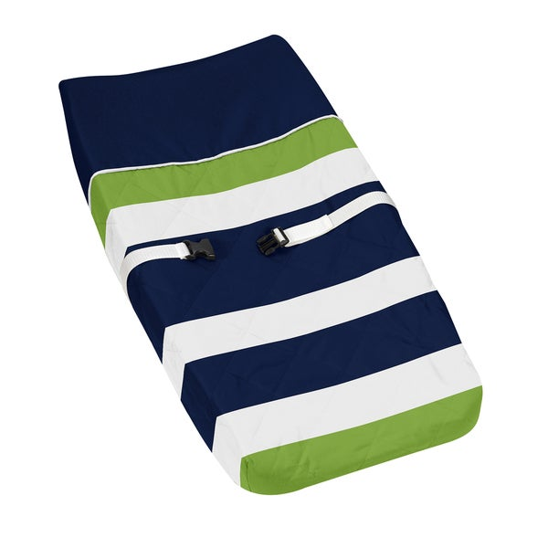 Sweet Jojo Designs Navy Blue/ Lime Green Stripe Baby Changing Pad Cover