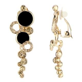 Goldtone Rhinestone-embellished Dangling Ring Clip-on Earrings