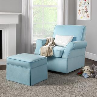 Dorel Living Kelcie Blue Swivel Glider & Ottoman