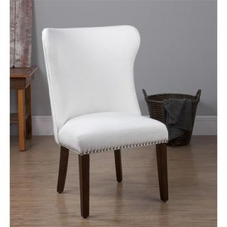 Dorel Living Bailey White Accent Chair with Nailheads