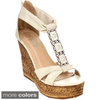 Refresh GRITA-01 Women's Beaded Platform Ankle Strap Wedge