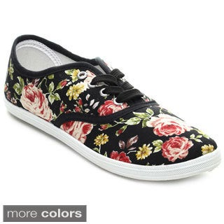Refresh LEMON-01 Women's Flower Printed Lace-up Sneakers