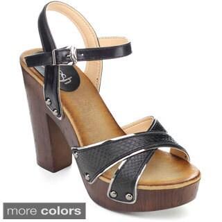 Refresh ALISA-02 Women's Criss-cross Ankle Strap Platform Heels