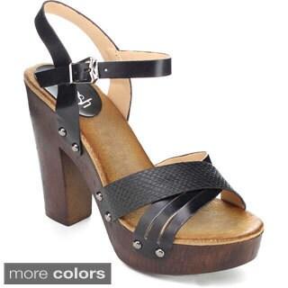 Refresh ALISA-04 Women's Classic Criss-cross Ankle Strap Platform Heels