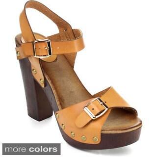 Refresh ALISA-05 Women's Buckle Studded Ankle Strap Platform Heels