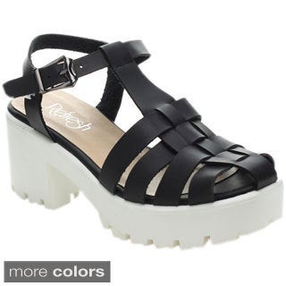 Refresh CITRUS-01 Women's Gladiator T-strap Ankle Strap Platform Heels