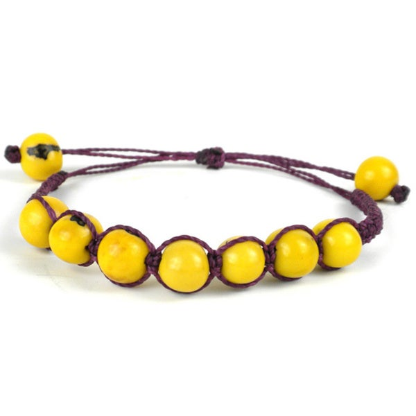 Global Crafts Lemon Yellow and Purple Costa Bracelet (Ecuador)