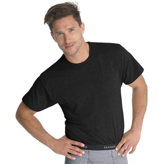Hanes Classics Men's Traditional Fit ComfortSoft Tagless Dyed Black Crewneck Undershirt 3-Pack