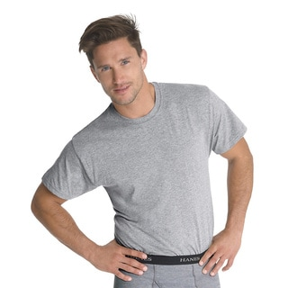 Hanes Classics Men's Traditional Fit ComfortSoft TAGLESS Black/ Grey Crewneck Undershirt 3-Pack