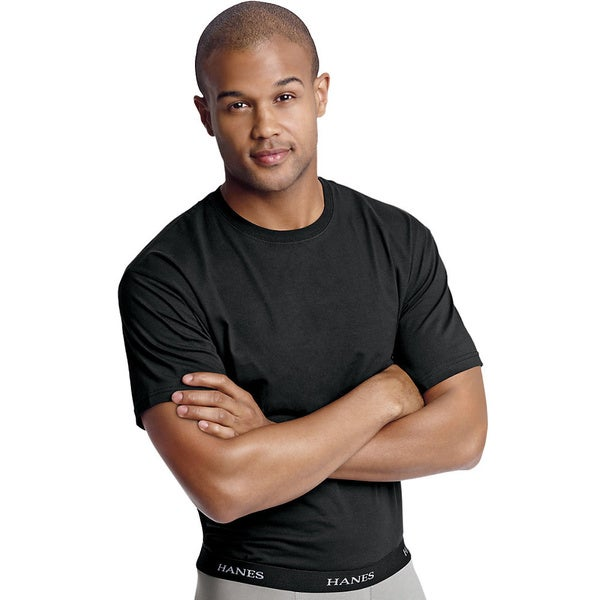 Hanes Men's Classics Stretch Fit Crew Black Undershirt 3-pack
