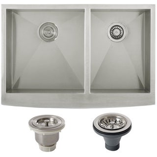 Ticor 33-inch Stainless Steel 16 Gauge Undermount Curved Front Double Bowl Farmhouse Apron Kitchen Sink