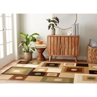 Downtown Brown and Green Rug (5'2 x7'2)