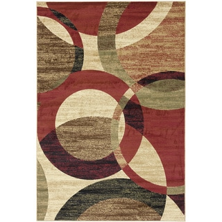 Moda Collection Multicolor Contemporary Circles Design Area Rug (7'10 x 9'10)