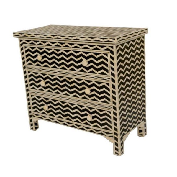 Black/ Beige 3-Drawer Chest