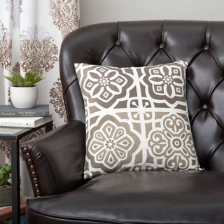 Zalva 'Parose' Natural and Brown Damask Throw Pillow (India)