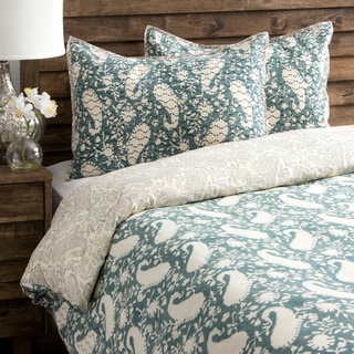 Paisley Sage Pattern Queen-size Duvet Cover with Shams (India)