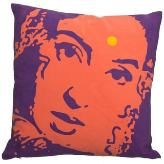 Zalva 18-inch Purple/ Orange Ikat Cushion Pillow