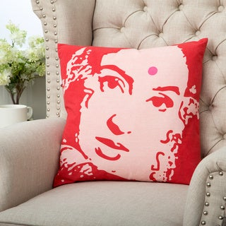 Pink Ikat Hindu Portrait Square Cushion (India)
