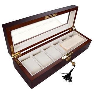 Fancy 6-slot Rose Wood Glass Top Watch Case