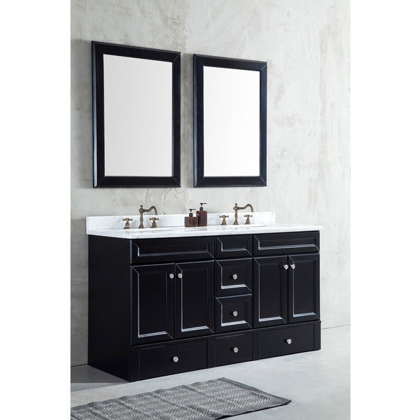 Corvus Espresso Step Vanity with 60-inch White Marble Top