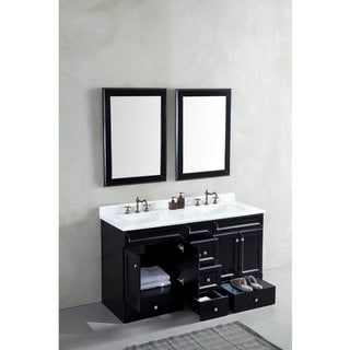Corvus Espresso Vanity with Pull-out Step and 60-inch White Marble Top