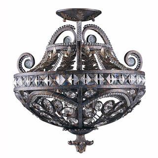 Lumenno International Prague Collection Traditional 3-light Bronze Convertible Semi-flush Mount